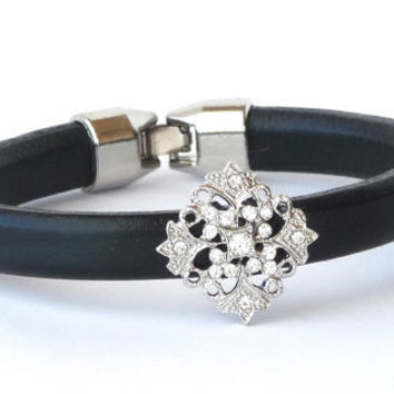 Licorice leather, black leather bracelet, rhinestone, regaliz, silver clasp, cuff