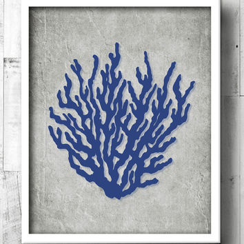 Coral Tropical Bathroom Art - Tropical Bath Prints - Beach Bathroom Wall Art - Beachy Navy Blue Bathroom - Decor - Beach House Wall Art