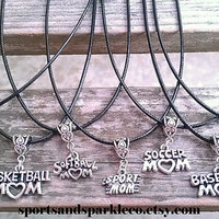"Hanging Sports Mom Charm on Black Leather 18"" - 20"" Necklace baseball, basketball, football, softball, soccer, sports mom"