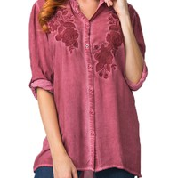 Andree by Unit Floral Embroidered Button Top Burgundy