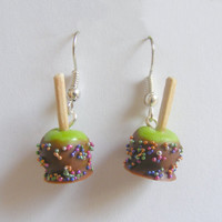 Scented Halloween Chocolate Apple and Candy Miniature Food Earrings  - Miniature Food Jewelry