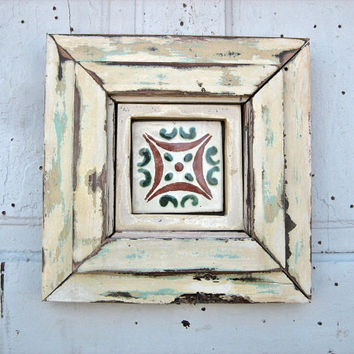 Framed Talavera Tile Repurposed Wood Art