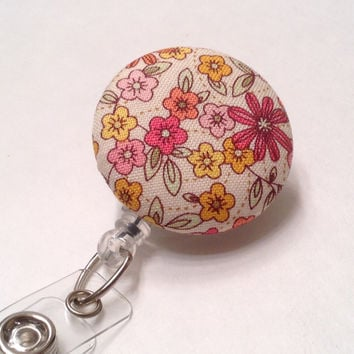 Retractable Badge Holder, Badge Reel, Nurse Key Card Holder, Swivel Badge Clip, ID Holder, Name Badge Holder, Retractable Lanyard, Flowers
