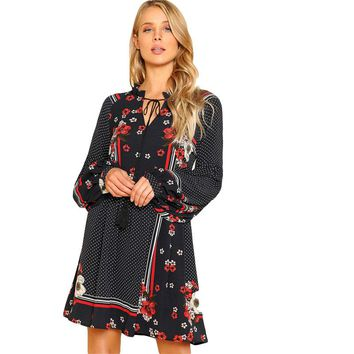 Floral, Polka Dot Print Smock Dress Women  Lantern Sleeve Dress pring Beach Boho Dress