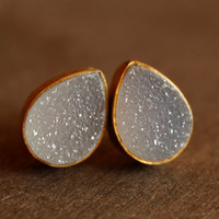 Gold Druzy Studs - Teardrop Post Earrings - Geode Studs, AAA Quality