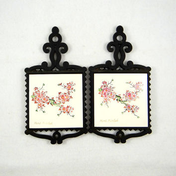 Vintage Hand Painted Ceramic Tile and Cast Iron Trivets by FM of Japan