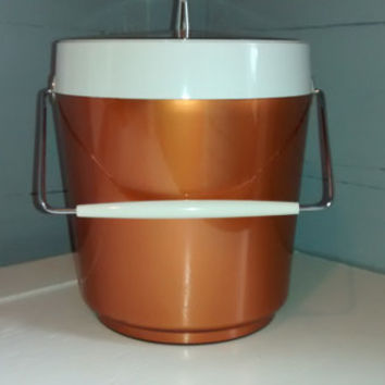 Ice Bucket with Lid, Thermo-Serv, Vintage, West Bend, Copper, White and Silver