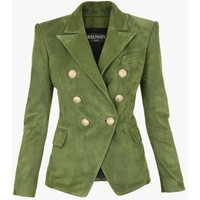 Double-breasted suede blazer | Women's leather blazers | Balmain