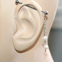 Industrial Barbell Ear Piercing with white freshwater pearls-14 gauge-Free shpping for USA and Canada