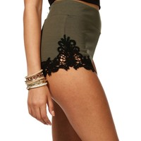 Sale-olive Lace Sides Pull-up Shorts