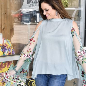 Floral embroidered sheer angel sleeve top