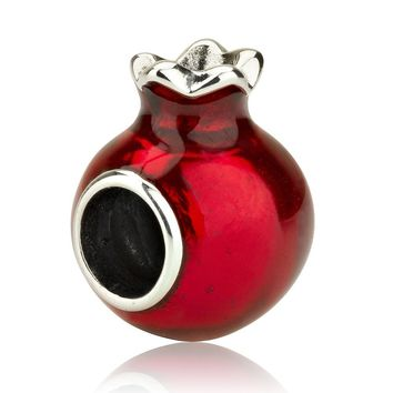Open Pomegranate Bead Charm with Garnet Stones