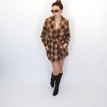 Vintage1970s Pendleton Brown Plaid Striped Virgin Wool Winter Trench Coat Outerwear Winter Jacket Mad Men Peacoat Glam Medium Small Boho