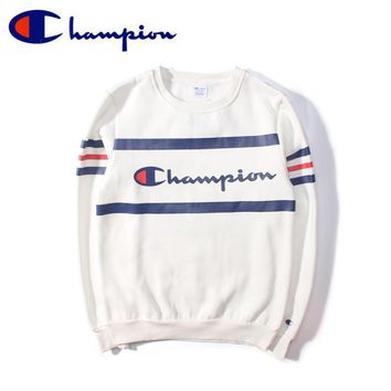 Tide Champion classic logo round collar hedging lovers fitted velvet thicken sweater White