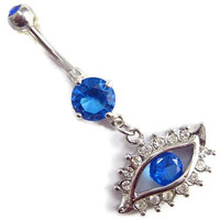 evil eye body jewelry blue eye Belly button Ring white/blue jem silver piercing Accessary 316L medical stainless steel navel ring/nail