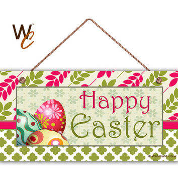 "Happy Easter Sign, Colorful Easter Eggs, Pink and Green Patterns, Weatherproof, 5"" x 10"" Sign, Plaque, Spring Gift, Made To Order"