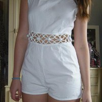 White Cut Out Playsuit  from penlyn101