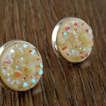 Druzy earrings- ivory drusy silver tone stud druzy earrings