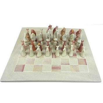 "Hand Carved Animal Chess Set - 15"" Board"