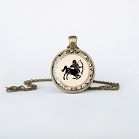 Sagittarius pendant Zodiac necklace European sign bronze jewelry fire sign gift for him for her jewellery key ring cb175