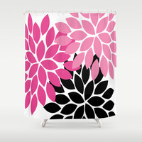 Bold Colorful Hot Pink Black Dahlia Flower Burst Petals Shower Curtain by TRM Design