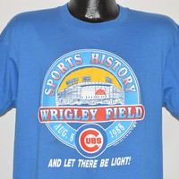 80s Chicago Cubs Wrigley Field Lights On t-shirt Large