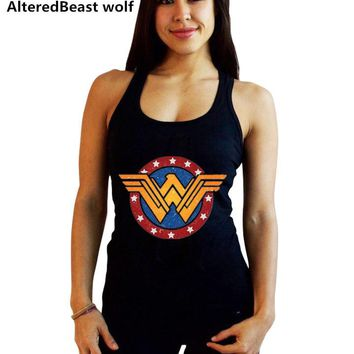 Women Sexy Tanks Tops female Wonder Woman print Black Tank Tops Fashion summer Vest women Sleeveless Fitness cotton Tops & Tees