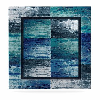 "Nina May ""Tavertina Blue"" Blue Teal Mixed Media Luxe Square Panel"