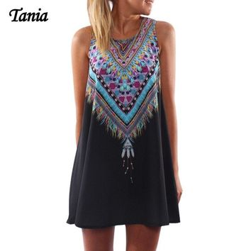 Peacock tail pattern loose vestidos casual o-neck mini sexy robe femme hippie beach dress