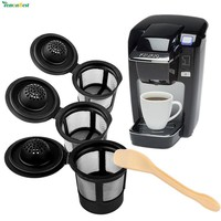 2Pcs Refillable Dolce Gusto Reusable Coffee Filter Pod Keurig Solo Stainless Mesh Compatible With 1Pcs Coffee Spoon