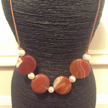 Agate Carnelian Necklace Freshwater Pearls Leather Necklace Circle Red Natural Stones Light Brown Leather
