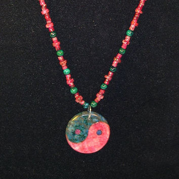 Yin Yang Pendant Necklace With Azurite Chrysocolla,  Pink, Bluegreen Beads,  Created From Ocean  Jasper, Teachers Gift, Boho, Zen Necklace