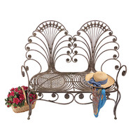 Park Avenue Collection Grand Peacock Metal Garden Bench