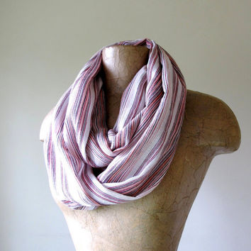 Lightweight Gauze Infinity Scarf - Wrinkled Cotton Gauze Striped Loop Scarf - Brown, Peach, Red Stripes