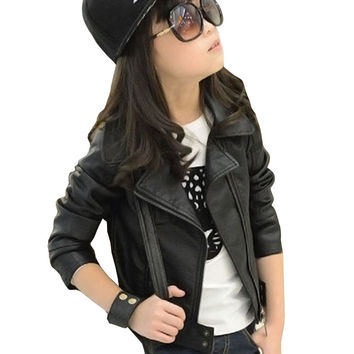 2017 New Baby Girl Leather Jacket Kids Girls Coats Spring Kids Faux Leather Jackets Girls Casual Black Solid Children Outerwear