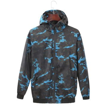 Spring Autumn New men's youth  Camouflage hooded jacket Waterproof Clothes Outdoor Sports Windbreaker Male Outwear Plus size 4XL