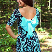 Light Blue Bow Back Dress