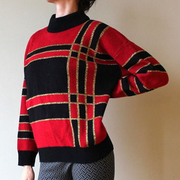 Vintage Red Sweater Holiday Party Shirt Gold Trim Black Jumper Design Retro 80s Stretchy Top