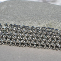 Chainmaille Bright Silver Tone Bracelet