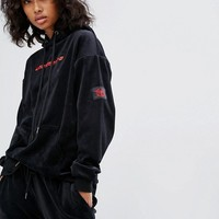 Wasted Paris Oversized Hoodie With Logo In Velour Tracksuit at asos.com