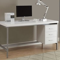 "White Hollow-Core / Silver Metal 60""L Office Desk"
