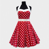 50s Vintage Dress Red Polka Dot Halterneck 50s Style Rockabilly Dress S-6XL Alternative Measures - Brides & Bridesmaids - Wedding, Bridal, Prom, Formal Gown