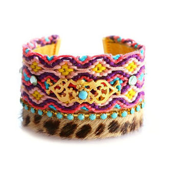 OOAK SS13 Hair-on Leopard Swarovski Friendship Bracelet Jewelry Wide Cuff,bohemian indian gypsy style,Ethnic boho style