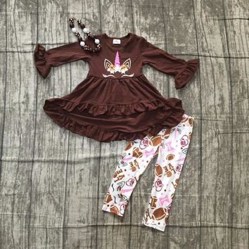 baby girls football season clothing baby girls brown top dress with unicorn pants outfits kids football clothes with accessories