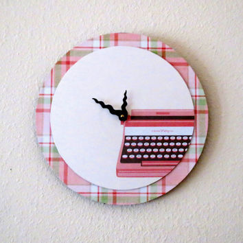 Retro Wall Clock, Recycled Wall Clock, Pink Telephone, Decor and Housewares,   Home and Living, Home Decor