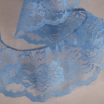 Turquoise Blue Ruffled Lace Trim, Apparel, Bridal, Lace Journals, Doll Clothes, Fashion Lace Trim, Costumes, Decorative Lace Trim, 3 YARDS