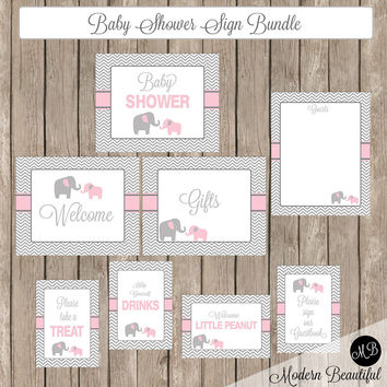 Baby Shower Sign Bundle Girl Elephant Pink and Gray, baby shower signs, elephant baby shower,  welcome sign  INSTANT DOWNLOAD  pe1