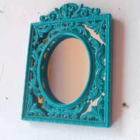 Decorative Wall Mirror in Turquoise Blue Vintage Brass Frame