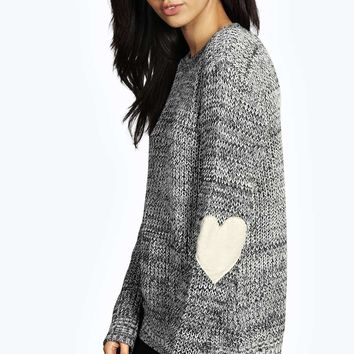 Cathy Heart Elbow PU Patch Jumper