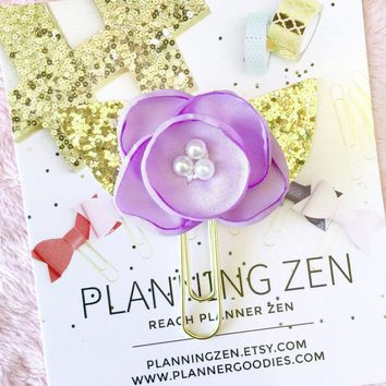 Lavender Chiffon Poppy with Gold Glitter Leaves Flower Planner Clip